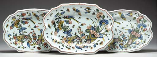 THREE ROUEN FAIENCE OVAL PLATT