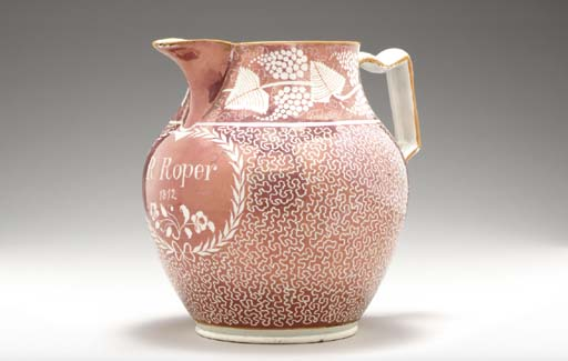 A STAFFORDSHIREPEARLWARE PINK-