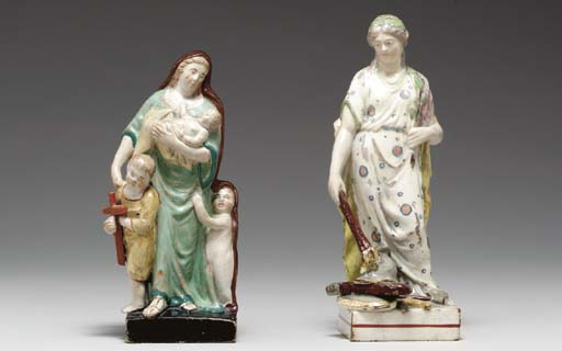 TWO STAFFORDSHIRE PEARLWARE FIGURES EMBLEMATIC OF 'CHARITY' AND 'PEACE'