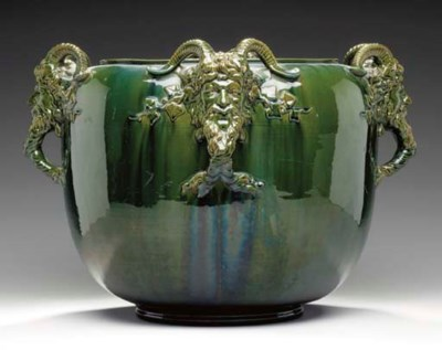 A FRENCH MAJOLICA JARDINERE