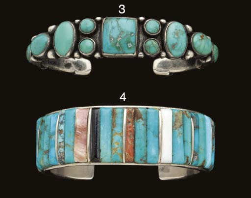 A NAVAJO SILVER, STONE AND SHE