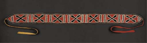 A CHOCTAW BEADED CLOTH SASH