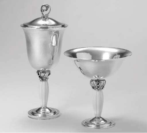 A DANISH SILVER AND IVORY CUP
