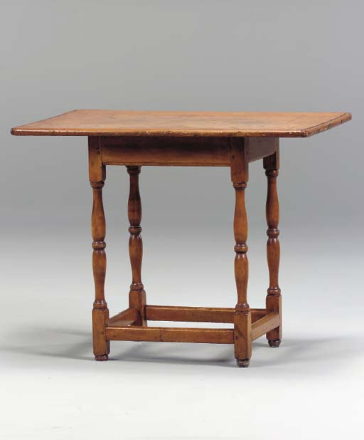 A PINE AND MAPLE TAVERN TABLE,