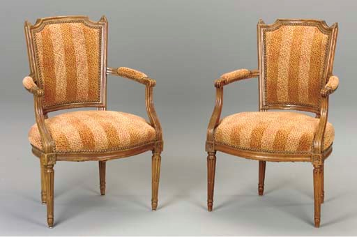 A PAIR OF LOUIS XVI STAINED BE
