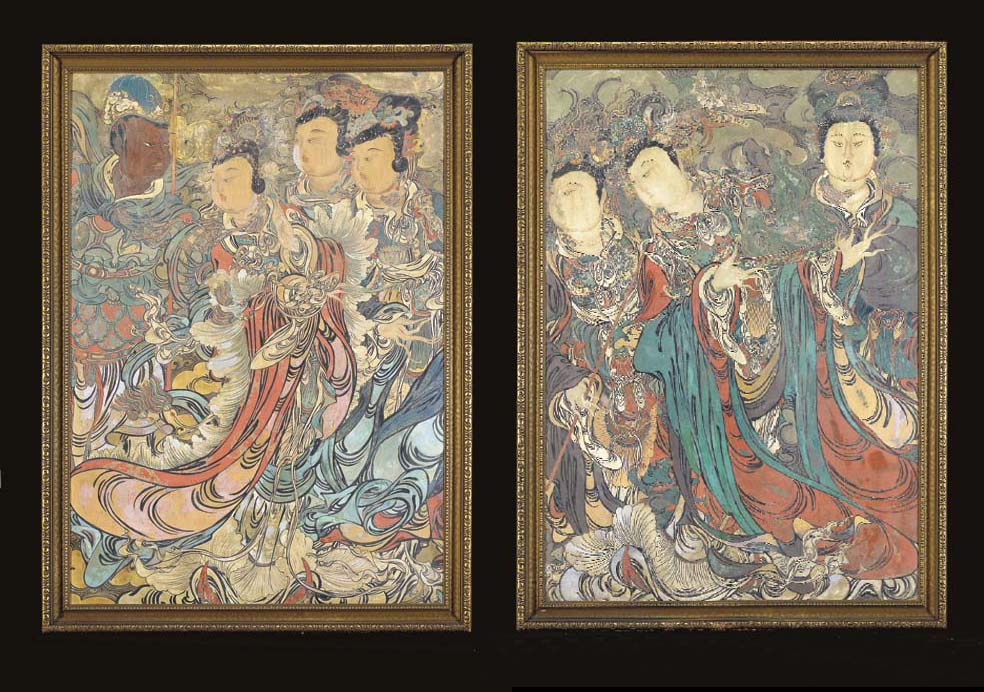 A PAIR OF PAINTED PANELS OF FE