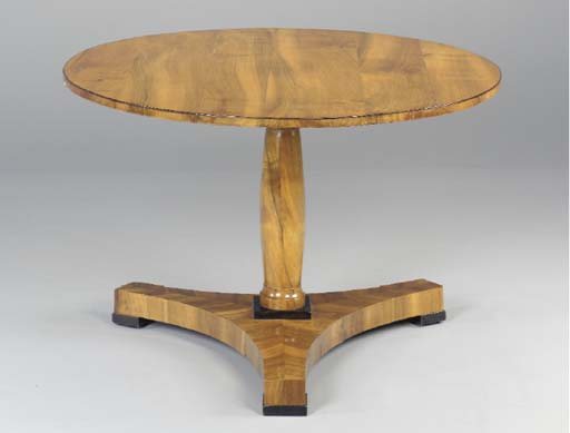 A BIEDERMEIER WALNUT TILT-TOP
