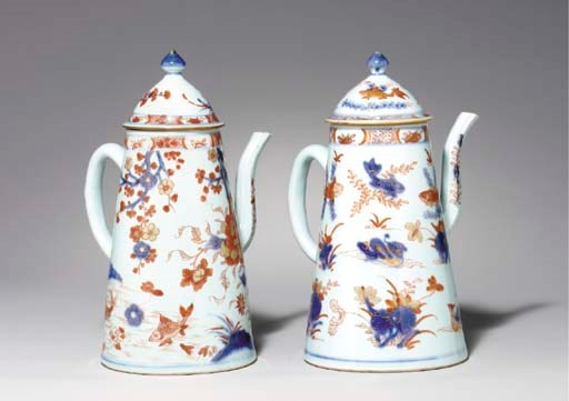 TWO CHINESE IMARI COFFEEPOTS A