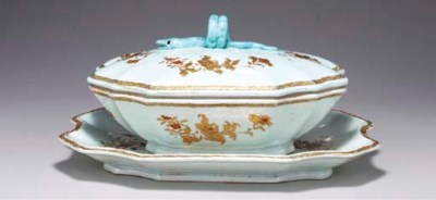 A SOUP TUREEN, COVER AND STAND