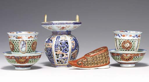 A GROUP OF RETICULATED PORCELAIN PIECES