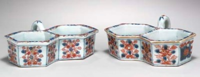 TWO CHINESE IMARI CRUET STANDS