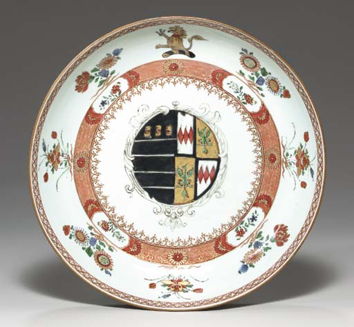 A LARGE ARMORIAL DISH