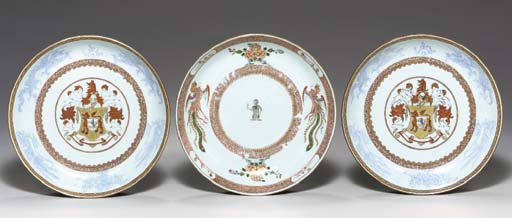THREE ARMORIAL SAUCER DISHES