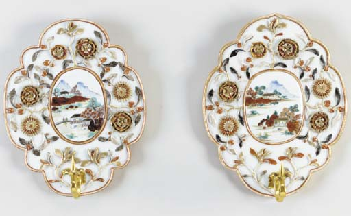 A PAIR OF PORCELAIN WALL SCONC