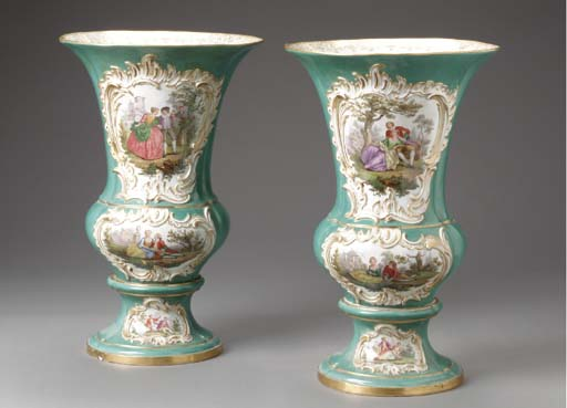 A PAIR OF MEISSEN TURQUOISE-GR