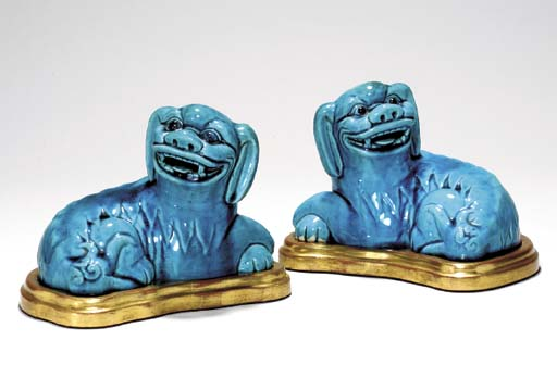 A PAIR OF TURQUOISE-GLAZED FIG