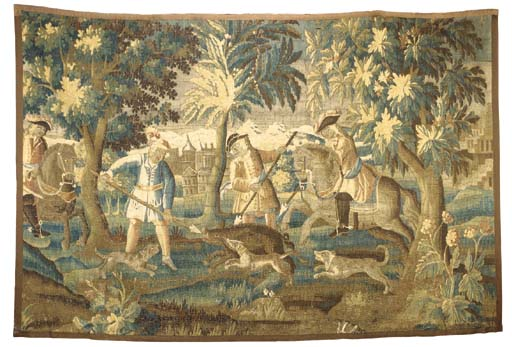 A LOUIS XIV AUBUSSON HUNTING TAPESTRY FRAGMENT,
