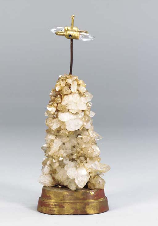 A ROCK CRYSTAL SPECIMEN LAMP,