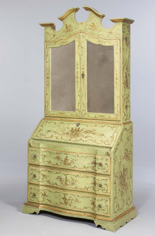 A VENETIAN STYLE GREEN-PAINTED