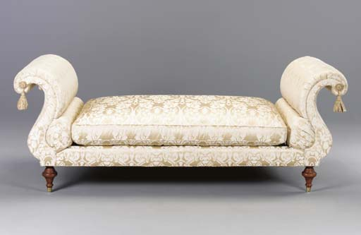A CREAM DAMASK UPHOLSTERED DAY