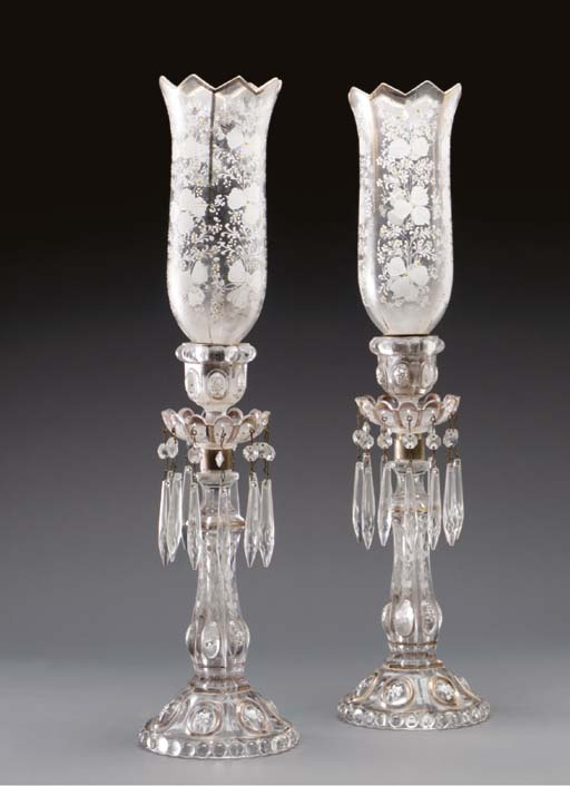A PAIR OF ENGLISH MOLDED GLASS