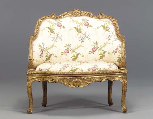 A LOUIS XV STYLE GILTWOOD MARQ