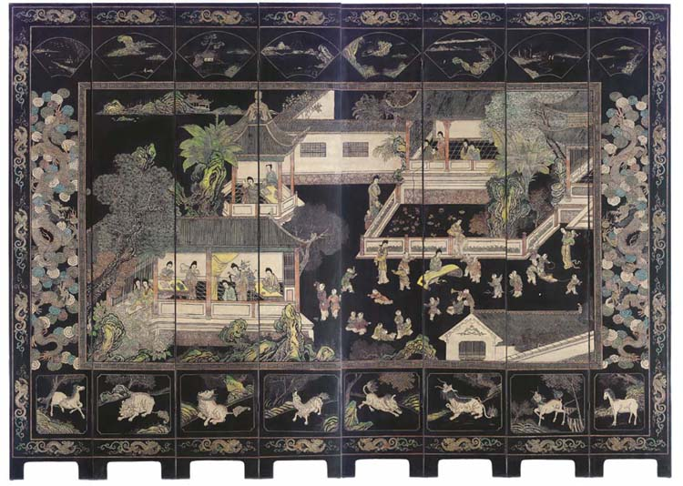 A CHINESE BLACK, POLYCHROME AN