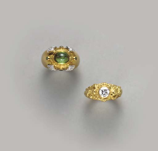 **A GROUP OF GOLD AND GEM-SET