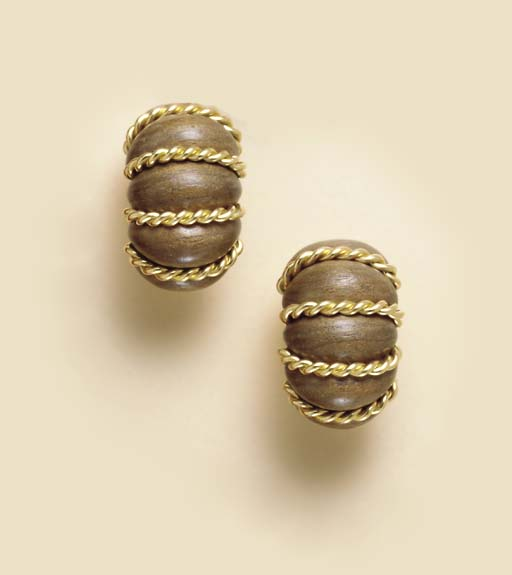 A PAIR OF WOOD AND 18K GOLD EAR CLIPS, BY SEAMAN SCHEPPS
