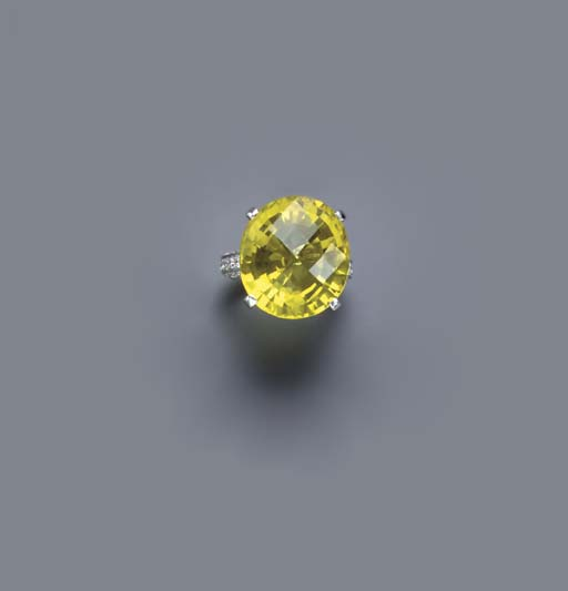 A CITRINE, DIAMOND AND 18K WHI