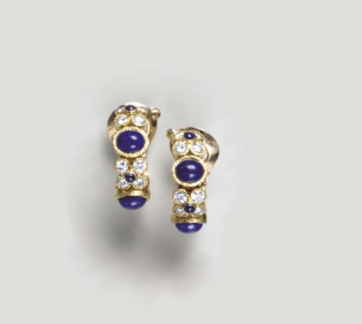 A PAIR OF LAPIS LAZULI, DIAMOND, SAPPHIRE AND 18K GOLD EAR CLIPS, BY VAN CLEEF & ARPELS