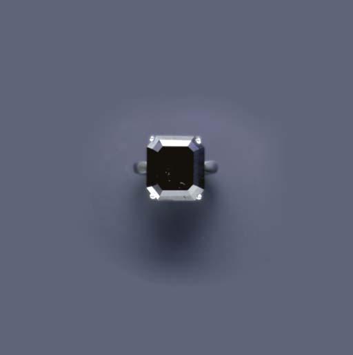 A BLACK DIAMOND AND 14K GOLD R