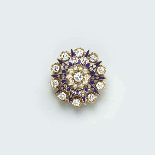 A DIAMOND, BLUE ENAMEL AND 14K GOLD BROOCH