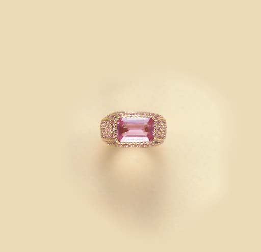 A PINK SAPPHIRE AND 18K GOLD RING, BY MICHELE DELLA VALLE