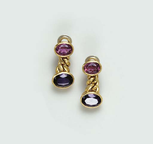 A PAIR OF AMETHYST, PINK TOURM