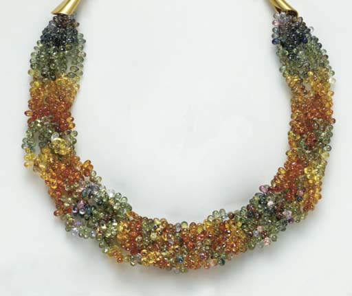 A MULTI-COLORED SAPPHIRE BEAD AND 18K GOLD TORSADE NECKLACE