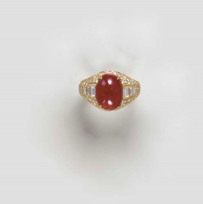 A SPINEL, DIAMOND AND 18K GOLD