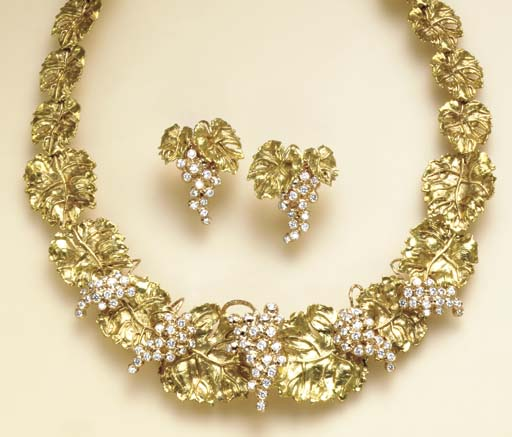 AN SUITE OF 18K GOLD AND DIAMO