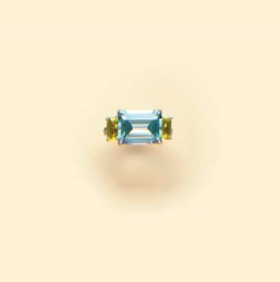 A GEM-SET AND PLATINUM RING, B
