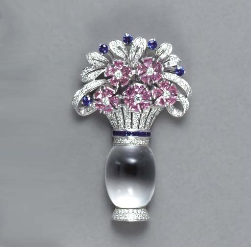 A MULTI-GEM AND 18K WHITE GOLD