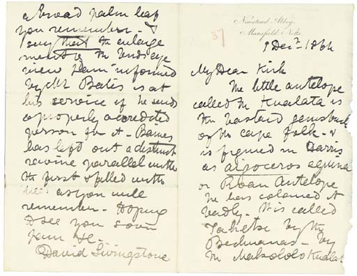 """LIVINGSTONE, David (1813-1873). 8 autograph letters signed (""""David Livingstone"""") and an autograph letter fragment to his chief assistant John Kirk (one to Kirk's mother), Murchison's Cataracts, Newstead Abbey, Hamilton and Bombay, 17 December 1863-15 November 1865. Together approximately 34 pages, various 8vo sizes, on various paper stocks, the final letter incomplete with losses at bottom, occasional marginal wear."""
