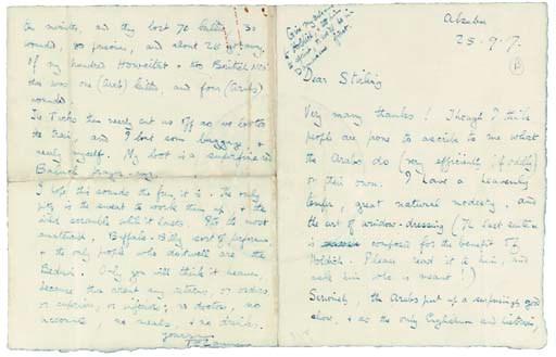 LAWRENCE T.E. Autograph letter