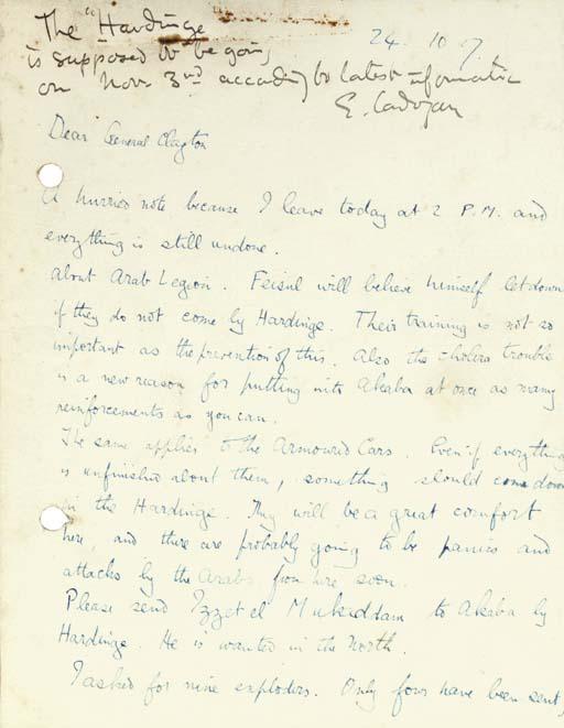 LAWRENCE, T.E.  Autograph lett