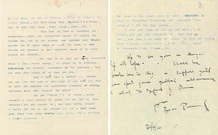 POUND, Ezra (1885-1972). Typed