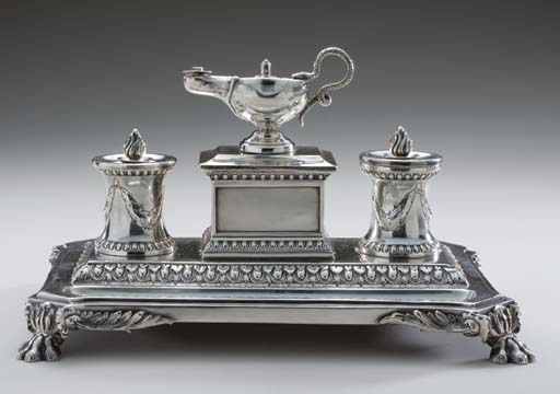 A VICTORIAN SILVER INKWELL,