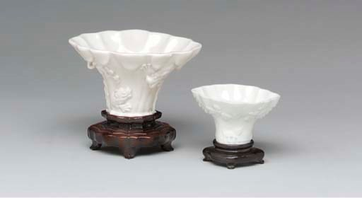 TWO CHINESE WHITE LIBATION CUP