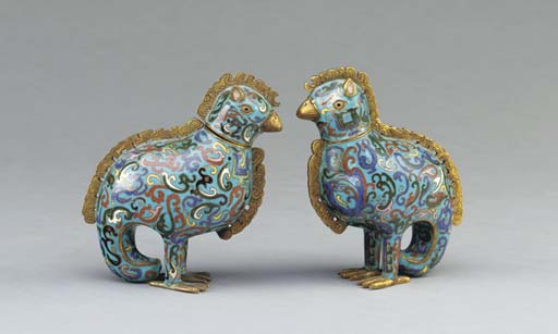 TWO CHINESE CLOISONNE ENAMEL A