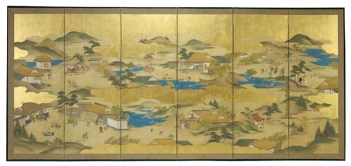 A JAPANESE SIX-PANEL SCREEN,