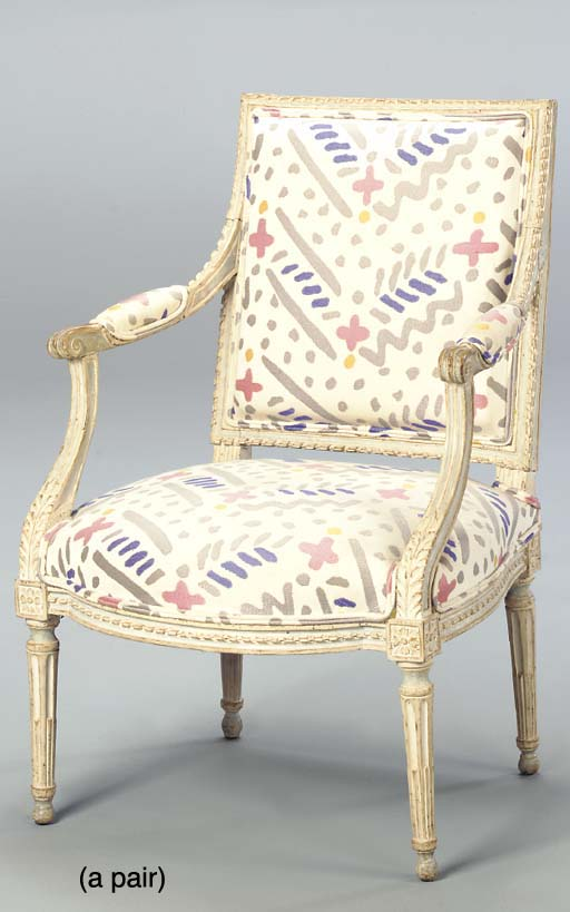 A PAIR OF LOUIS XVI GREY AND B