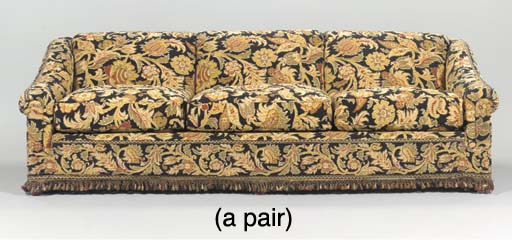 A PAIR OF UPHOLSTERED SOFAS,